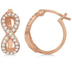 Allurez Infinity Shaped Hinged Hoop Diamond Earrings 14k Rose Gold... ($970) ❤ liked on Polyvore featuring jewelry, earrings, rose gold, infinity earrings, diamond hoop earrings, pave diamond earrings, diamond jewelry and hoop earrings