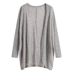 Long Sleeve Loose Grey Cardigan ($11) ❤ liked on Polyvore featuring tops, cardigans, outerwear, romwe, grey long sleeve top, loose cardigan, loose tops, gray cardigan and cut loose tops