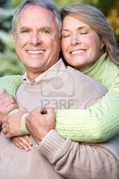 Happy elderly couple in love in park  Stock Photo - 5594036
