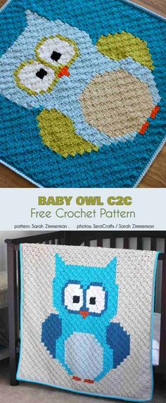 Baby Owl Blanket Free Crochet Pattern Here is an interesting project involving a very smart bird, the owl. The baby owl blanket is a beautiful, quite large baby covering that will Crochet C2c Pattern, C2c Crochet Blanket, Owl Crochet Patterns, Owl Patterns, Crochet Blocks, Afghan Patterns, Crochet Blankets, Crochet Baby Blanket Free Pattern, Free Crochet