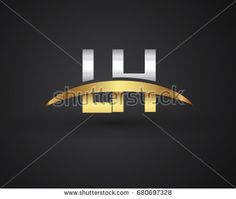 LH initial logo company name colored gold and silver swoosh design. vector logo for business and company identity.
