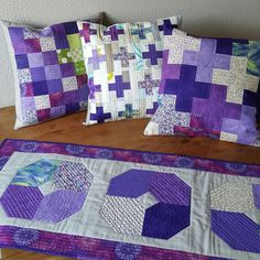 Purple Plus Pillows: 2 patterns from Pillow Pop Tablerunner is a veryberryhandmade pattern in Love Patchwork & Quiltingmag