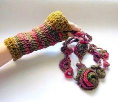 Luvas sem dedos com encaixe para o polegar, tecida em tricô e acabamento em crochê