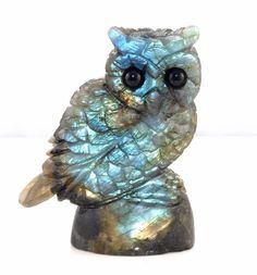 Hand Carved Labradorite Owl Figurine
