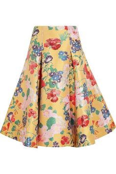 Valentino - Silk-blend Jacquard Skirt - Yellow - IT42