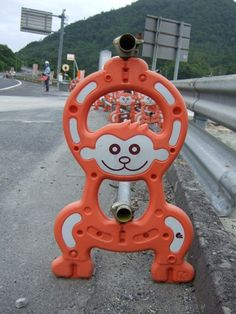 """Sendaimeiban began collaborating with Asahiyama Zoo in Hokkaido to make """"character barricades"""" that could be placed at roadside construction sites and be seen by buses of tourists."""