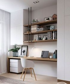 31 White Home Office Ideas To Make Your Life Easier; home office idea;Home Office Organization Tips; chic home office. Small Home Office Furniture, Home Office Space, Home Office Decor, Office Ideas, Bedroom With Office, Small Home Offices, Modern Offices, Office Lounge, Office Nook