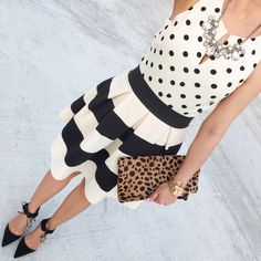 Petite Travel Outfits | Modcloth stripe it lucky skirt Clare V leopard foldover clutch Elin ...