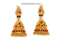 22K Gold 'Peacock' Jhumkas (Temple Jewellery)