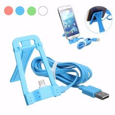 Micro USB to USB 2.0 Charger Charging Sync Data Cable Stand Holder Phone Mount for Android