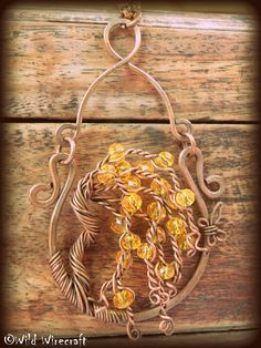 Orange Tree of Life/Wire Wrapped Tree of Life by WildWirecraft