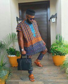 Abiodun african shirt with matching pant African Dresses Men, African Clothing For Men, African Shirts, African Attire, African Wear, African Inspired Fashion, African Men Fashion, Dashiki For Men, Afro Punk Fashion