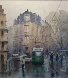 Peter Cronin Watercolor Artists, Watercolor Landscape, Artist Painting, Various Artists, All Over The World, Art Drawings, My Arts, City, Melancholy
