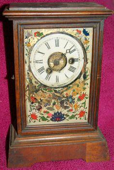 19th Century American Alarm Walnut & Painted Glass Mantel Clock (spares/repair)