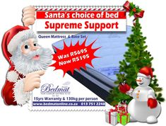 We have a Bedmat Christmas special instore  Our supreme support Queen base and mattress set is on a Christmas special, get this amazing deal for only R5195.00 original price WAS R5695.00  Hurry our special offer is available from 13 – 20 Dec ONLY. Visit our website for more information #bedmatonline #christmasspecial #supremesupport