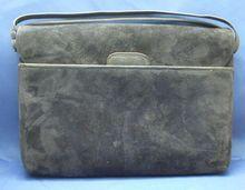 Saks Fifth Avenue Midnight Navy Blue Suede Handbag
