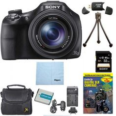 Sony DSC-HX400V/B DSCHX400VB DSCHX400V HX400 20 MP Digital Camera Bundle with 32GB High Speed Card, Spare Battery, Rapid AC/DC External Charger, Padded Case, DVD Photography Tutorial, SD Card Reader, Table top Tripod, and MORE. 50x the Magnificence Closeness is nothing without clarity. Enjoy 50x optical zooming, silky-smooth Full HD video and razor-sharp, 20.4MP pics - perfect for sporting events and all your adventures. Looking to capture the mood of a shot without the harshness of a…