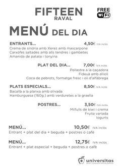 Estos son los platos que hoy os proponemos en Fifteen #Raval: