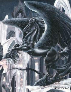 the black knight by Ruth Thompson Magical Creatures, Fantasy Creatures, Beautiful Creatures, Dream Fantasy, Fantasy Art, Unicorn Art, Horse Drawings, True Art, Elf