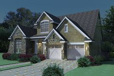 The Whispering Valley narrow house plan impresses with a spacious study off the entry and vaulted ceilings in the main living area. The kitchen in this craftsman house plan is open to the family room. Tuscan House Plans, Cottage Style House Plans, Southern House Plans, Craftsman Style House Plans, Southern Living, House Plans 2 Story, Narrow House Plans, 2000 Sq Ft House, Monster House Plans
