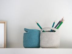 Crochet basket. Storage Basket. Cesta ganchillo. Round basket. Cestino uncinetto. Häkeln Korb. Office organization. Panier. Set of 2