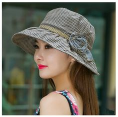 Summer UV flower sun hat for women package plaid bucket hats