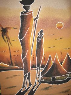 Cuadros de arena de Senegal Sand Painting, Coffee Painting, Fabric Painting, Black Women Art, Black Art, Art Women, Afrique Art, African Paintings, African Theme