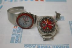 2 very RARE and very RED tissot chronographs from the 1970's. Chek them out at www.sometimeago.com.