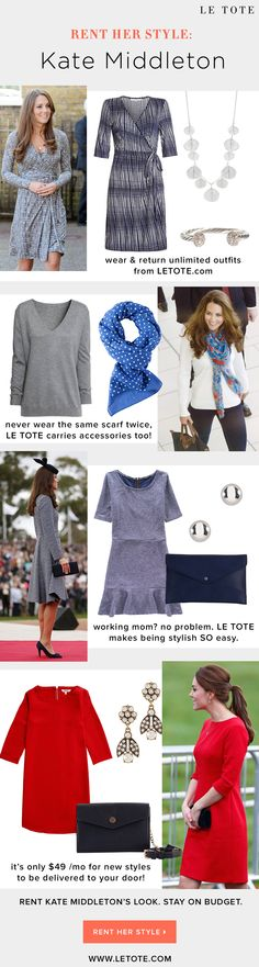Get Kate Middleton's Style by following these tips from www.LETOTE.com Her style is easy, accessible, perfect office outfit inspiration, and she has amazing style that is great for moms!