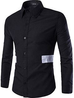 jeansian Men's Contrast Color Stitching Long Sleeves Dress Shirts 84D3 Black XS jeansian http://www.amazon.ca/dp/B01CFIL86E/ref=cm_sw_r_pi_dp_Qyp2wb0S7WBZ2