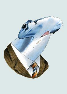 Hammerhead Shark art print 5x7 by berkleyillustration on Etsy