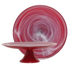 RED GLASS WITH WHITE SWIRL SERVING STAND