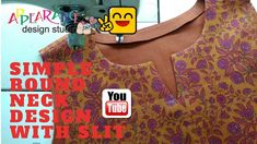 simple round neck design with slit - YouTube