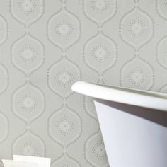 White Trellis, Trellis Wallpaper, Pantries, In Writing, Floral Motif, Bathroom Interior, Grey And White, Home Accessories, Color Schemes