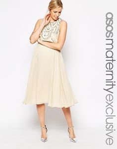 ASOS Maternity – Knielanges Kleid mit verziertem Oberteil