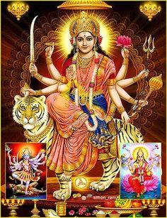 All Goddesses in Hindu belief are ultimately the same Goddess, often called simply 'Devi'. One of the fiercest of Devi's forms is Durga. She symbolizes the fierce power combat against evil. Maa Durga Photo, Durga Maa, Shiva Shakti, Indian Goddess, Goddess Lakshmi, Indiana, Vaishno Devi, Durga Images, Navratri Images