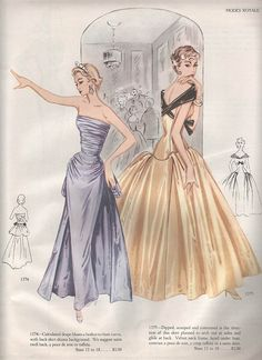 1955-1956 Fall Winter Modes Royale evening gowns bustle over skirt strapless portrait collar ruching gathering