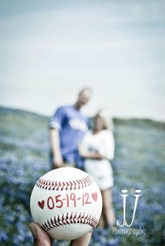 Cute idea! Baseball wedding date I like this for a save the date pic, but more in focus of the couple and n front of Busch!