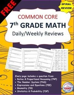This FREE resource contains 2 WEEKS (10 problems)  of review specifically written for the common core math standards for 7th grade. The review sheets are organized into 5 boxes. Each box contains problems from the 5 domains of the 7th grade CCSS standards.This resource can be used for WARM UPS, HOMEWORK and math CENTERS.