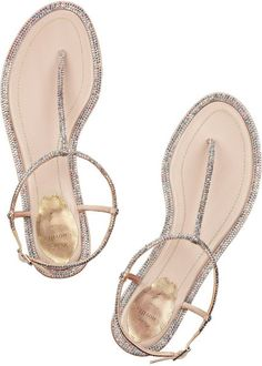 Rene Caovilla Swarovski Crystalembellished Leather Sandals in Silver (neutrals) - Lyst