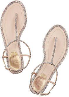 Rene Caovilla Swarovski Crystalembellished Leather Sandals in Silver (neutrals) - Lyst