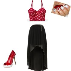 """""""red and black"""" by hannah-burling ❤ liked on Polyvore"""