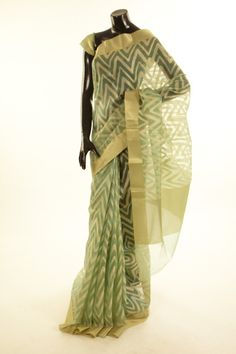 Banarsi- organza persian sea green blush saree with blouse
