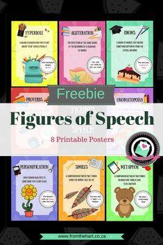 Figures of Speech - Printable Posters Teaching Grammar, Teaching Aids, English Fun, Learn English, English Phonics, Figure Of Speech, Social Studies Resources, Alliteration, Speech Activities