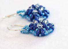 Swarovski Crystal Earrings, Beaded Earrings, Boho, Sky Blue, Blue Opal, Cadet Blue, Baby Blue, Beaded Jewelry, Geometric by seedbeadsofchange on Etsy