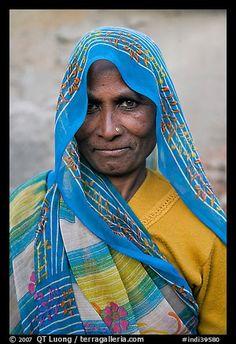 Elderly woman with head scarf. Khajuraho, Madhya Pradesh, India