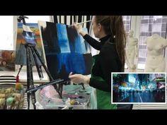 Как нарисовать ночной город художника Jeremy Mann - YouTube