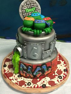 ninja turtle party food - Great Image of Ninja Turtle Birthday Cakes Ninja Turtle Party, Ninja Turtle Birthday Cake, Ninja Cake, Tmnt Cake, Turtle Birthday Parties, Ninja Turtles, Ninja Turtle Cakes, 4th Birthday, Ninja Party