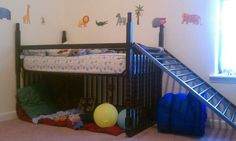 Crib to loft bed with book nook, or even toddler bunk beds.