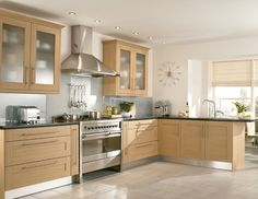 Modern Wooden Kitchen With Wooden Cabinets And White Theme Kitchen And Minimalist L Shaped Kitchen Design